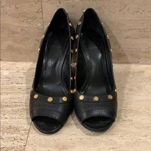 Tory Burch Black Leather Wedges with Gold Studs